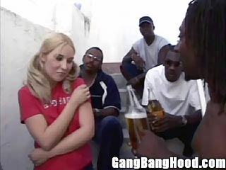 Blonde Girl in Pig Tails Cornered by Black Thugs
